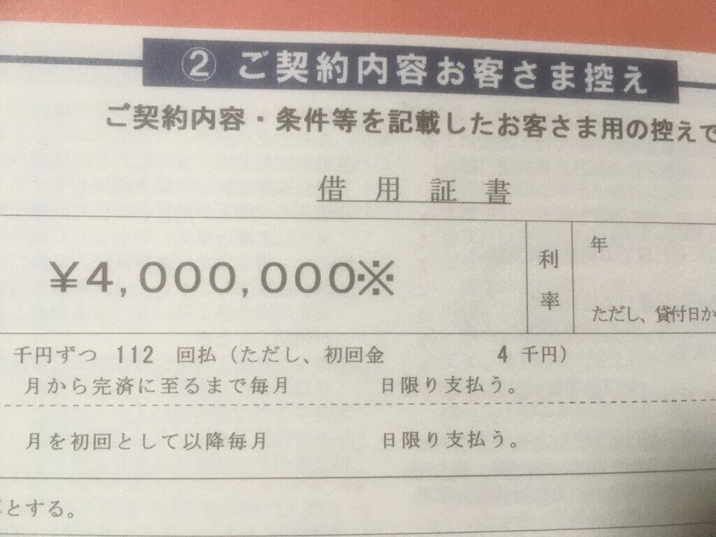 国金借入400万円